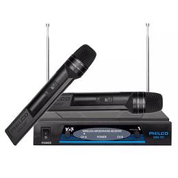 Set Karaoke 2 Micrófonos Inalambricos Vhf Philco Wm-787