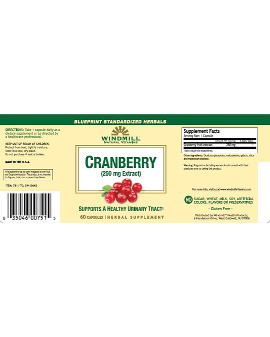 CRANBERRY EXTRACT 250 MG 60 TABS