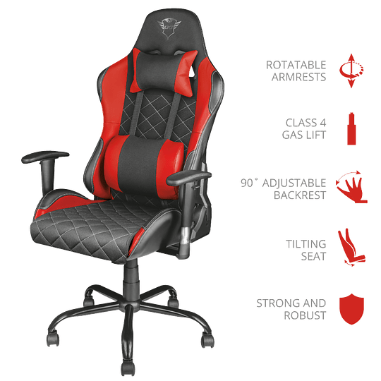 Silla Gamer Profesional Trust GXT 707R Resto Gaming Red - Image 3