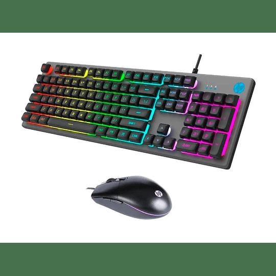 Kit Gamer Teclado Y Mouse Hp Km300f Silver Retroiluminado - Image 1