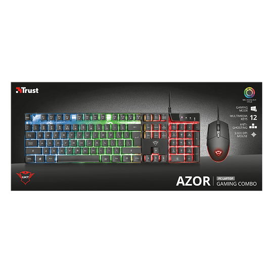 Kit Gamer Trust Gxt 838 Azor Teclado Mouse Rgb Pc Ps4 Xbox - Image 3