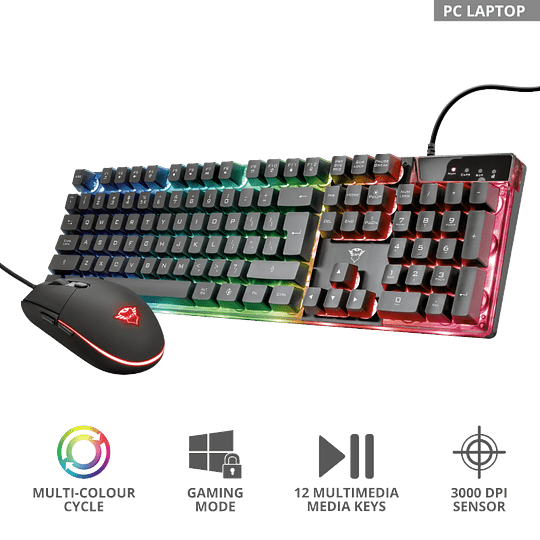 Kit Gamer Trust Gxt 838 Azor Teclado Mouse Rgb Pc Ps4 Xbox - Image 1