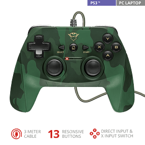 Joystick Trust GXT 540C Yula, Wired, Compatible PC y PS3, Green Camo
