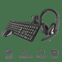 Pack Teclado Mouse Audífonos Web Cam Mouse Para Teletrabajo