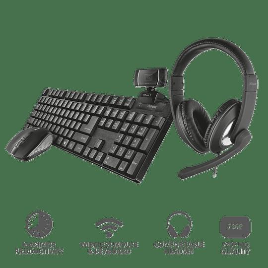 Pack Teclado Mouse Audífonos Web Cam Mouse Para Teletrabajo - Image 1
