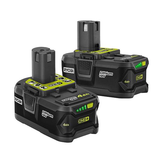 Cargador Rápido + Pack de 2 baterías RYOBI 18V ONE+ 4.0 Ah