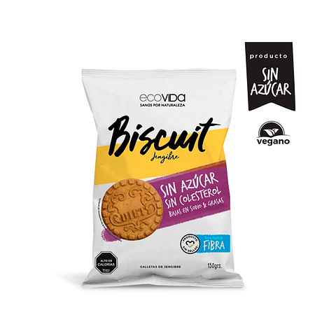 Biscuit Jengibre sin azúcar, sin colesterol -  150 gr  Galleta