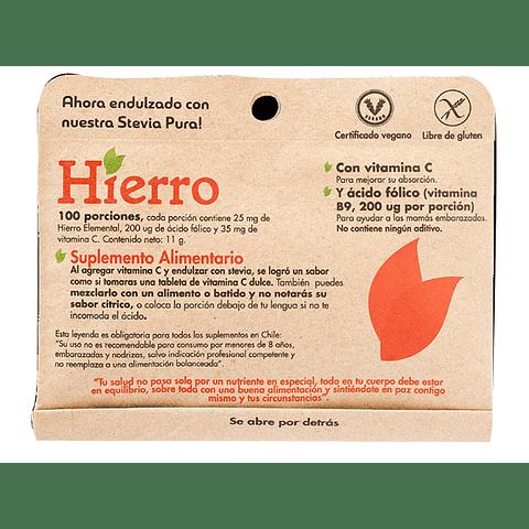HIERRO con VITAMINA C y ÁCIDO FÓLICO  (vitamina B9, 200 ug por porción) - Peso Neto: 11 gr
