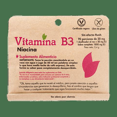 VITAMINA B3 Niacina - (90 porciones de 20 mg ) - Peso Neto: 5,4 gr - Sin efecto Flush
