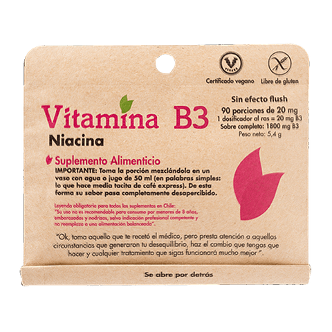 VITAMINA B3 Niacinamida - (90 porciones de 20 mg ) - Peso Neto: 5,4 gr - Sin efecto Flush