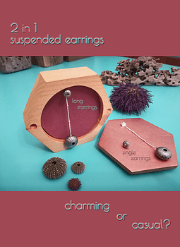 2 in 1 Suspended Sea Urchin Earrings