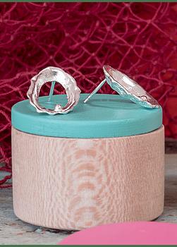 Brincos Lapa Recortada com Pérola de Prata (M)