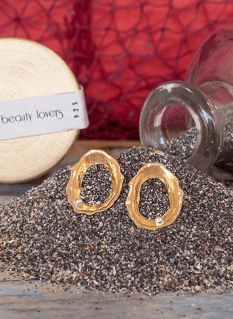 Silver Pearl Keyhole Limpet Earrings (M)