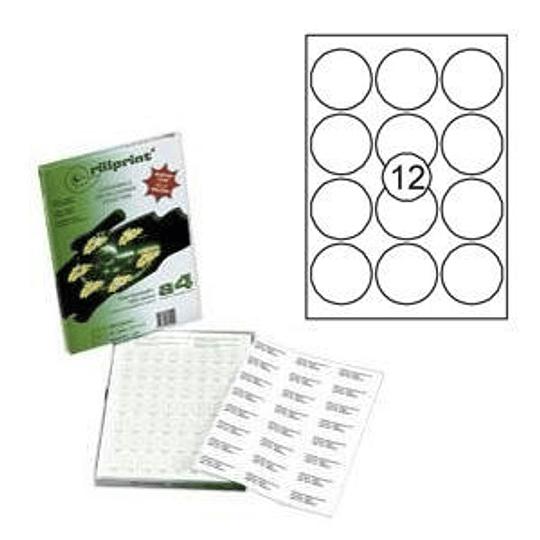 Наклейки Rillprint D-63.5мм / 12 наклеек, 100 листов формата А4