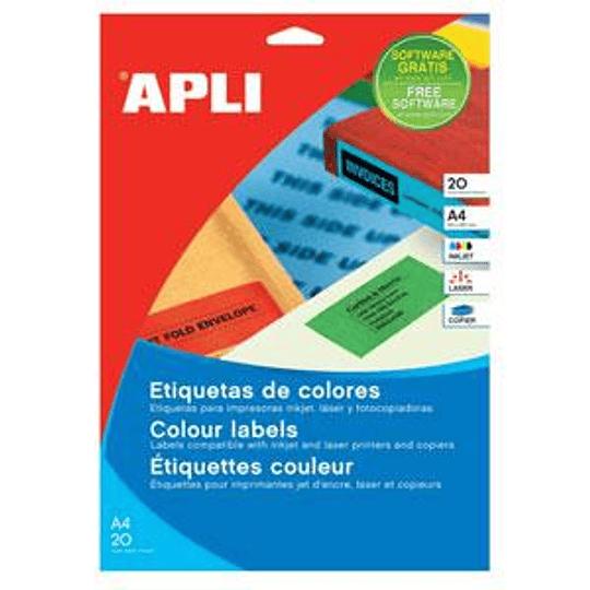 Наклейки APLI 70x37мм / А4 синие, 20 листов