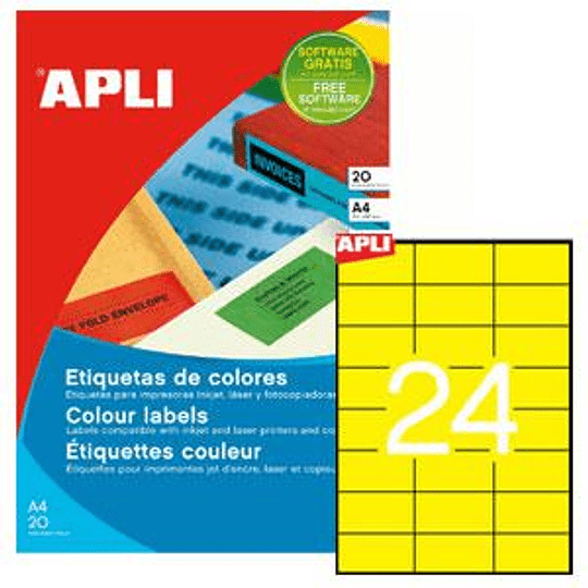 Наклейки APLI 70x37мм / А4 желтые, 20 листов