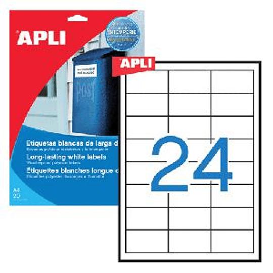 Наклейки APLI 64.6x33.8мм 20 листов полиэстера, белый кр.