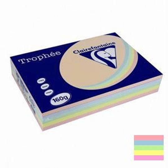 Бумага TROPHEE 160г/м2 A4/250листов пастельное ассорти