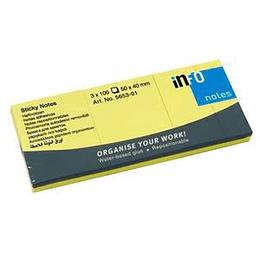 Līmlapiņas 40x50mm dzeltenas, 3 gab.x100 lapas, INFO