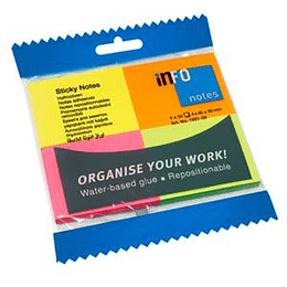 Līmlapiņas 40x50mm NEON 4 krāsas x 50 lapas, INFO