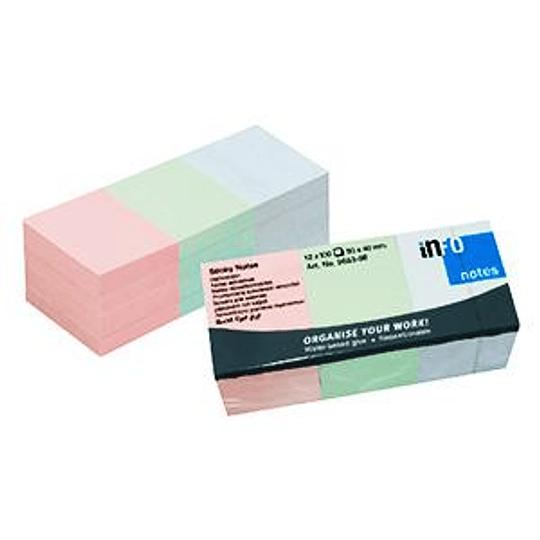 Стикеры INFO 40x50мм, 12 шт. (3 пастельных цвета х 4 блока)