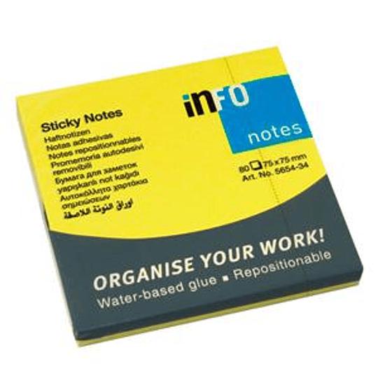 Стикеры INFO NEON 75x75мм, желтые, 80 листов