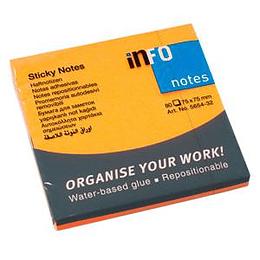 Стикеры INFO NEON 75x75мм, оранжевые, 80 листов
