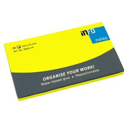 Стикеры INFO NEON 76x127мм/80 листов, желтые