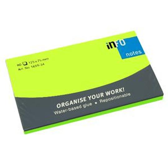 Стикеры INFO NEON 76x127мм/80 листов, зеленые