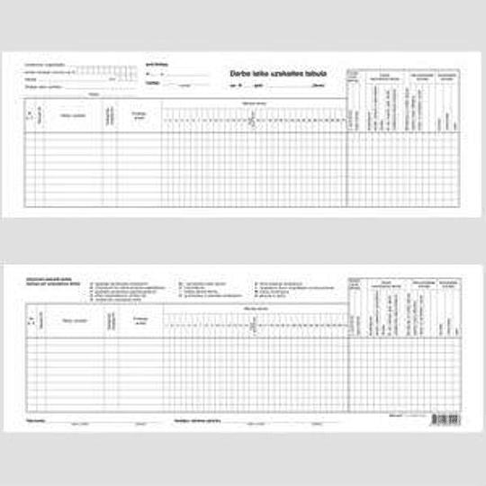 Таблица учёта рабочего времени 1 листок