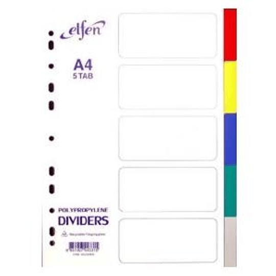 Разделитель ELFEN A4/5 цветов