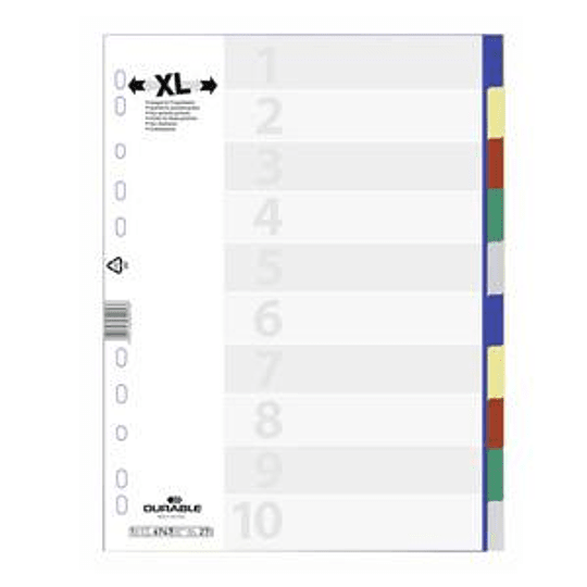 Разделитель DURABLE MAXI A4/10, цветной