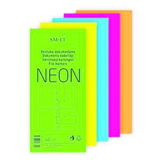 Разделители картонные для документов 30шт., цвет- неон ассорти