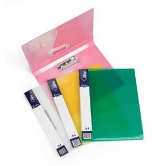Папка с прижимом A4 FORPUS прозрачная, зеленая