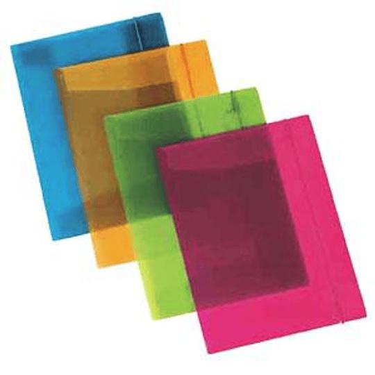 Папка на резинке AURORA A4 прозрачная/синяя
