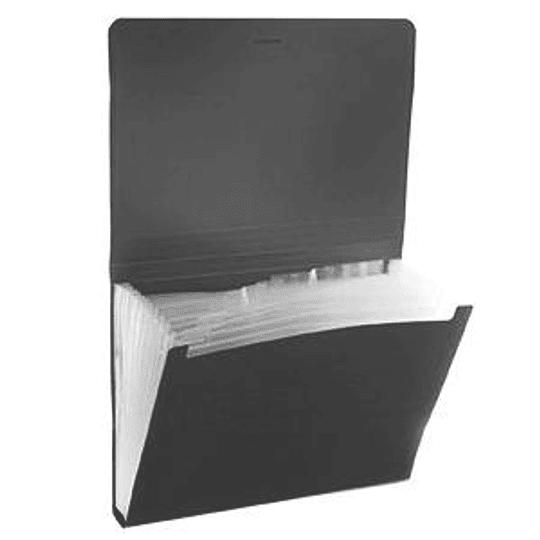 Папка-картотека Classic ErichKrause, 6 отделений, на резинке A4 чёрная