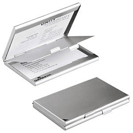 Vizītkaršu kastīte DURABLE, matēts alumīnijs, sudraba krāsā dubulta