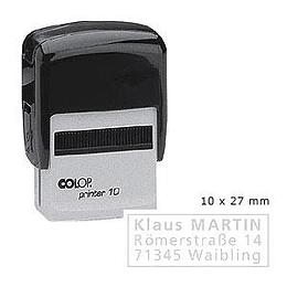 Zīmogs COLOP Printer10 melns korpuss, bez krāsas spilventiņš