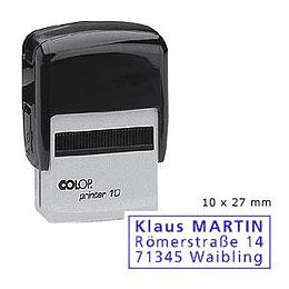 Zīmogs COLOP Printer10 melns korpuss, zils spilventiņš