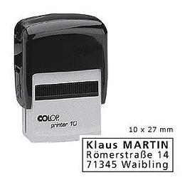 Zīmogs COLOP Printer10 melns korpuss, melns spilventiņš