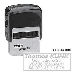Zīmogs COLOP Printer20 melns korpuss, bez krāsas spilventiņš
