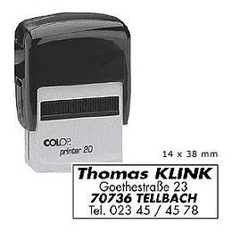 Zīmogs COLOP Printer20 melns korpuss, melns spilventiņš