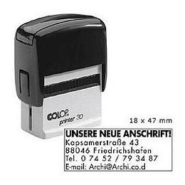 Zīmogs COLOP Printer 30, melns korpuss, melns spilventiņš