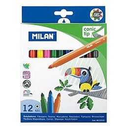 Flomāsteri 12 krāsas d=5mm conic tip, Milan