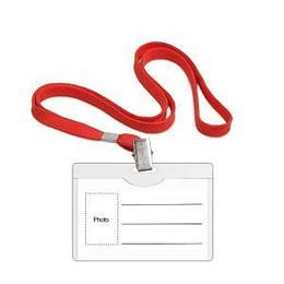 Personas karte 90x54 mm ar tekstila sarkanu auklu