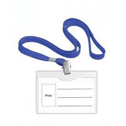 Personas karte 90x54 mm ar tekstila zilu auklu