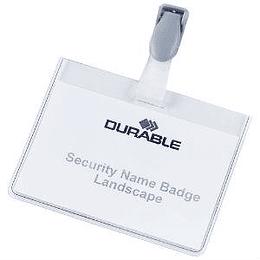 Идентификационная карта 90x60мм с пластмассовой клипсой DURABLE, горизонтальная