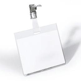 Идентификационная карта 60x90мм с металлической клипсой DURABLE, горизонтальная