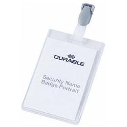 Идентификационная карта 60x90мм с пластмассовой клипсой DURABLE, вертикальная