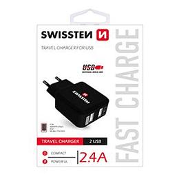 Сетевой адаптер USB 2.1A + 1A черный Premium SWISSTEN